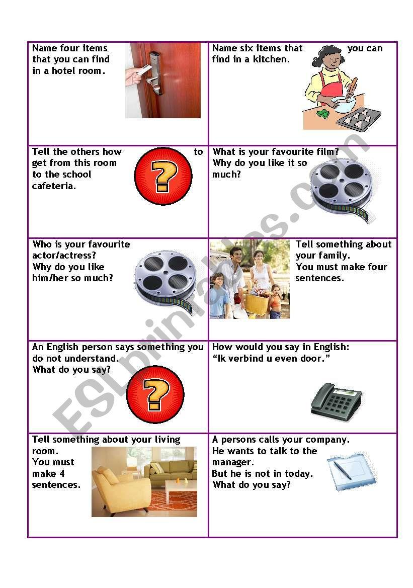 Conversation cards level A1 business 2/5