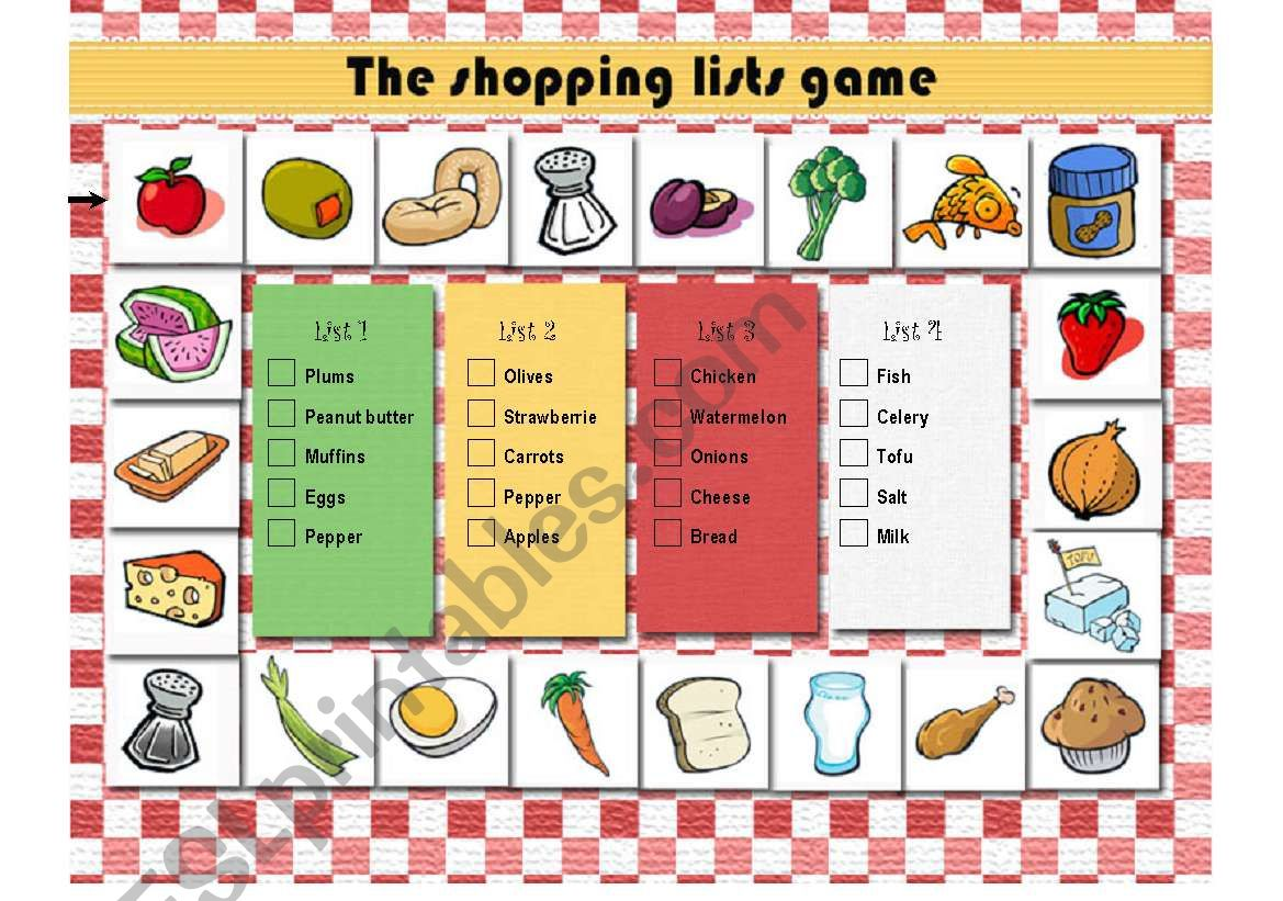 A game to practice food vocabulary
