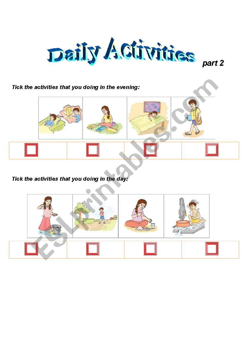 daily activites   part2 worksheet