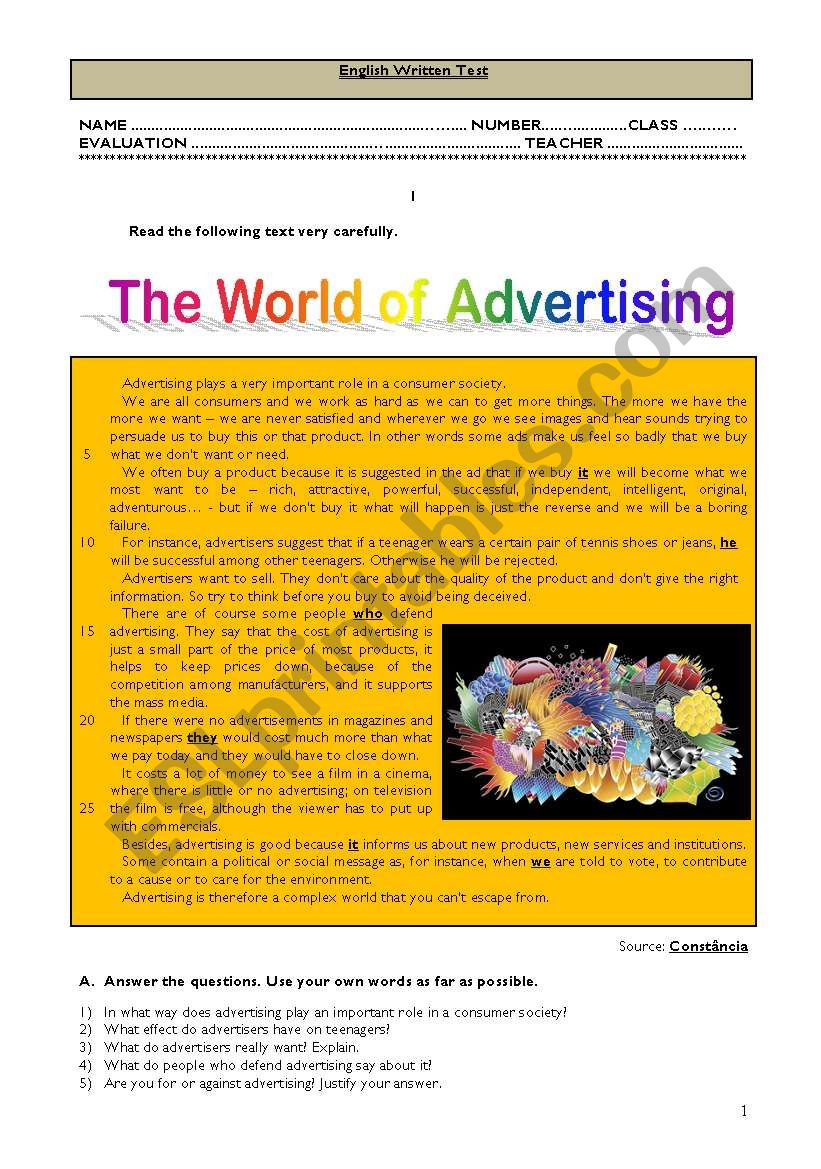 Test - The world of advertising