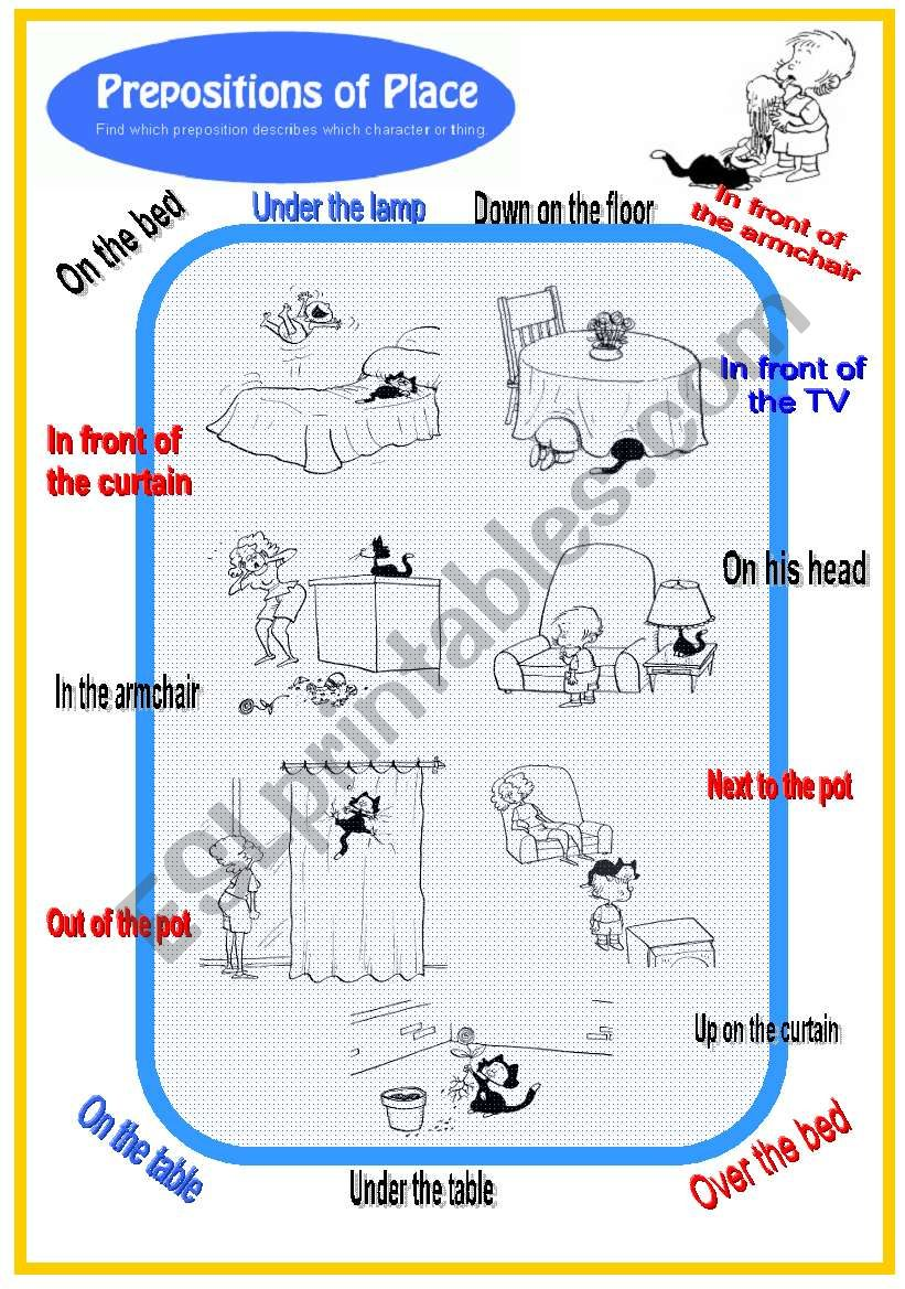 Prepositions of place with black cat