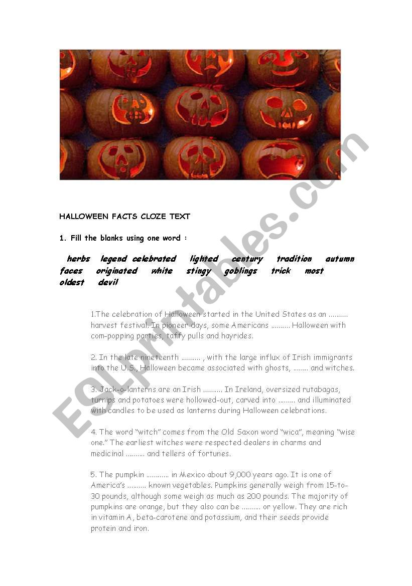 halloween facts cloze text - ESL worksheet by monropa