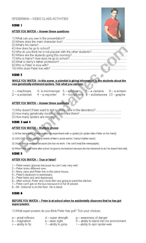 SPIDERMAN  worksheet