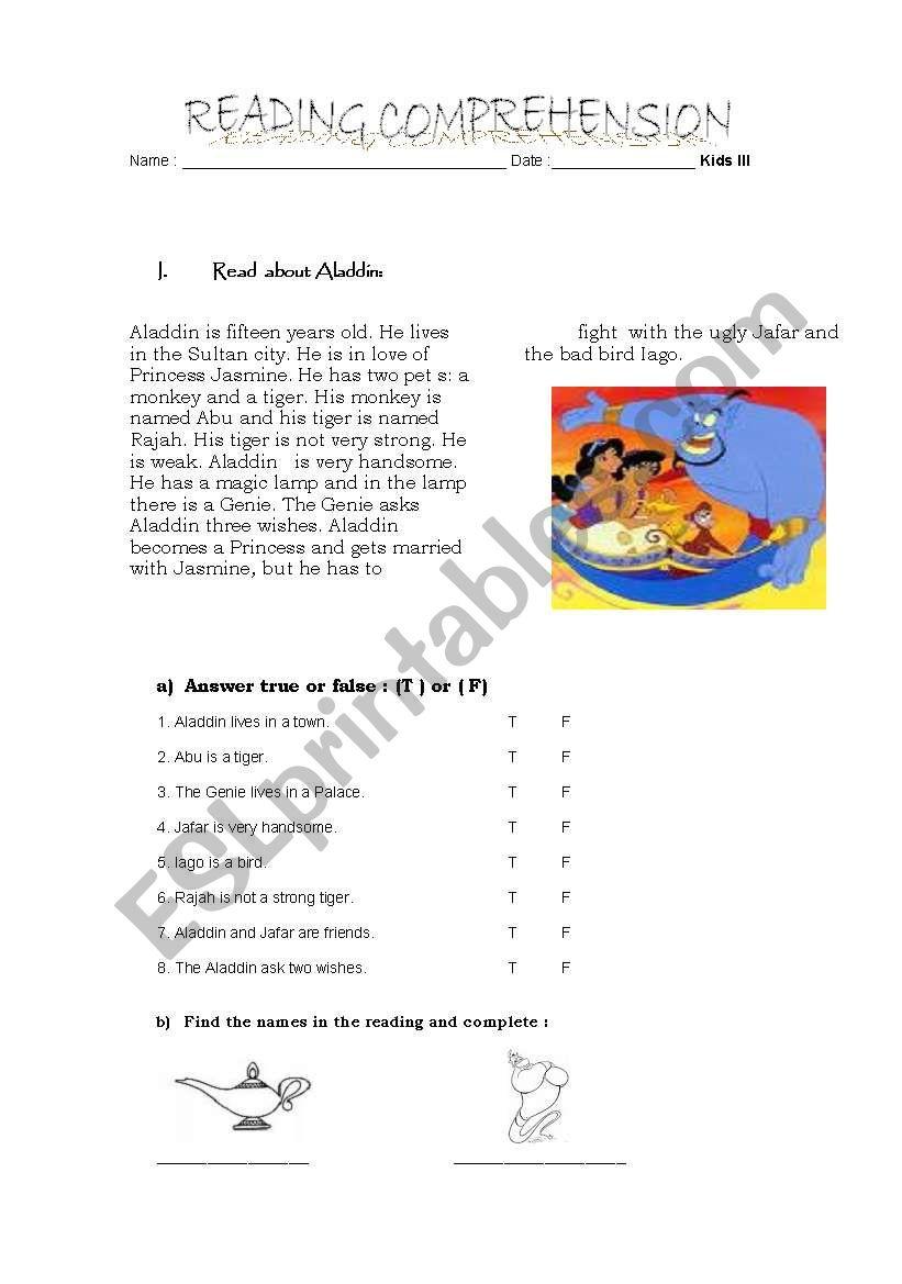 aladdin worksheet