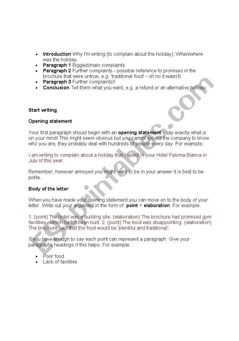 Writing a letter of complaint esl worksheet by ernie22 spiritdancerdesigns Images