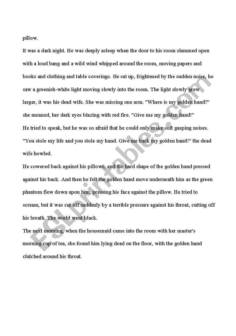 The Golden Hand - Scary Story - ESL worksheet by emmajlb