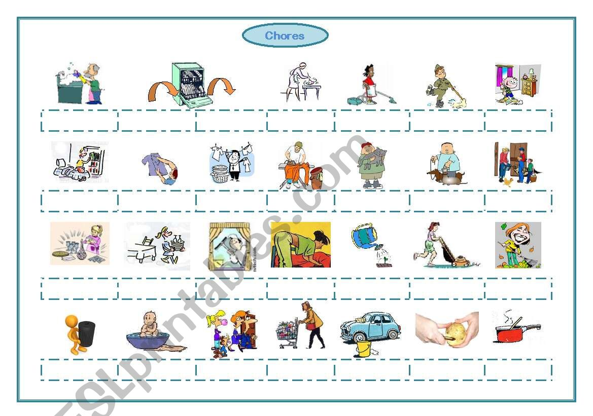 Chores, frequency adverbs worksheet