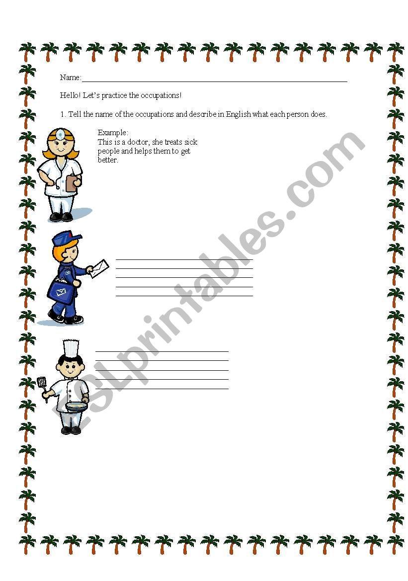 Occupations worksheet