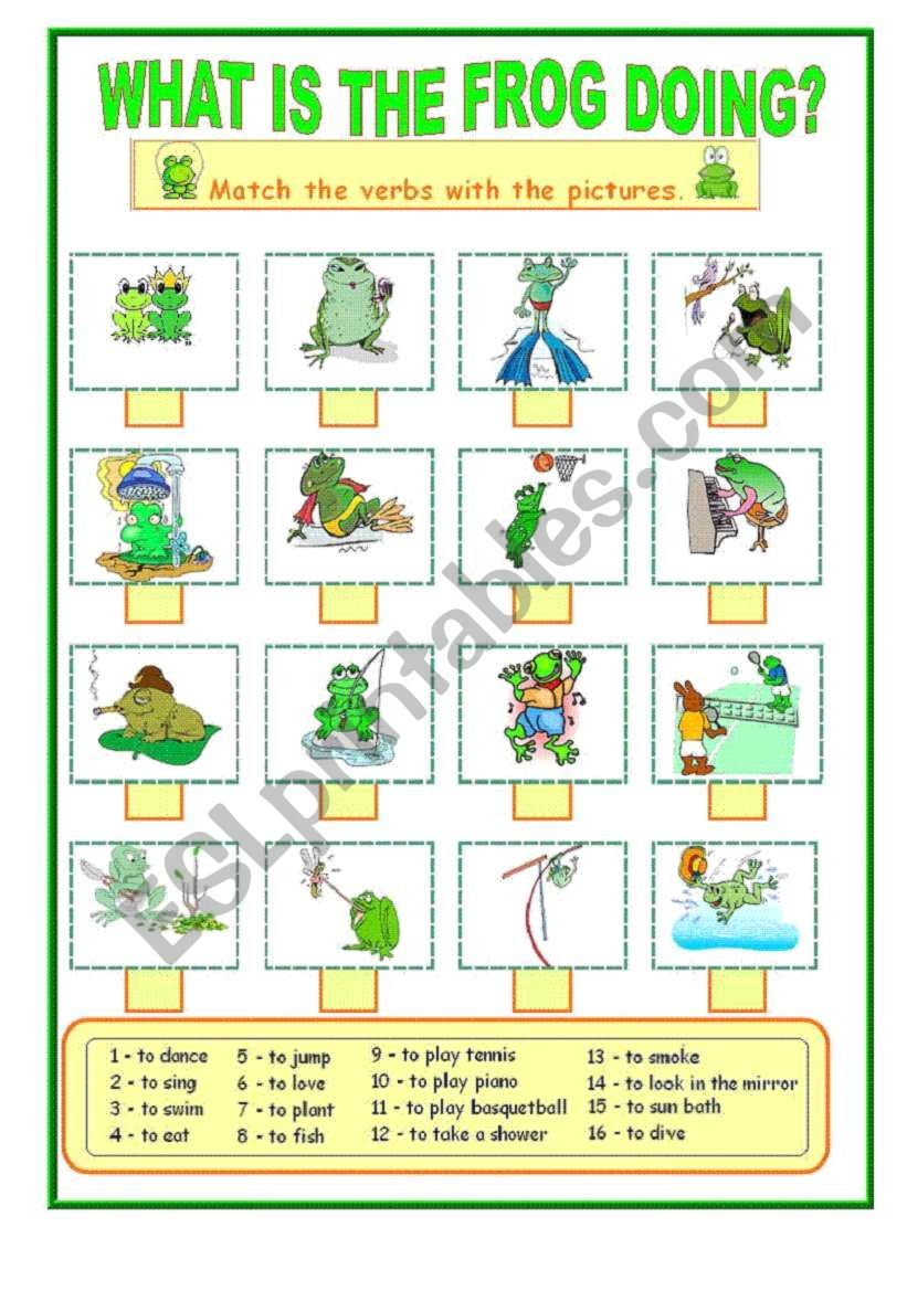 What is the frog doing .... worksheet