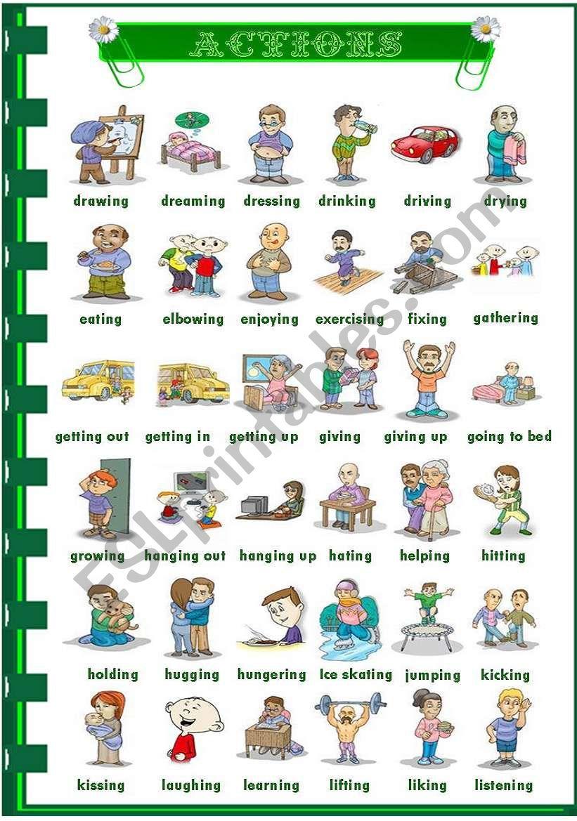 Actions 1/3 worksheet