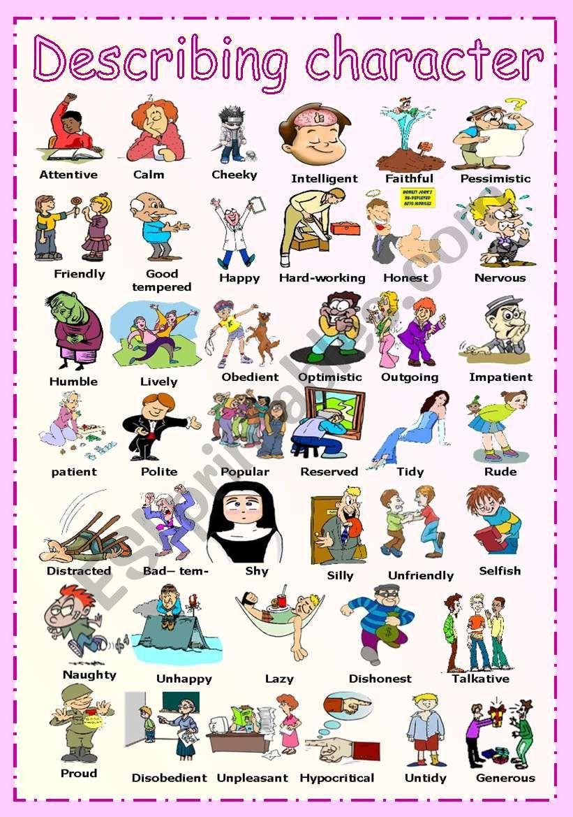 Describing character worksheet