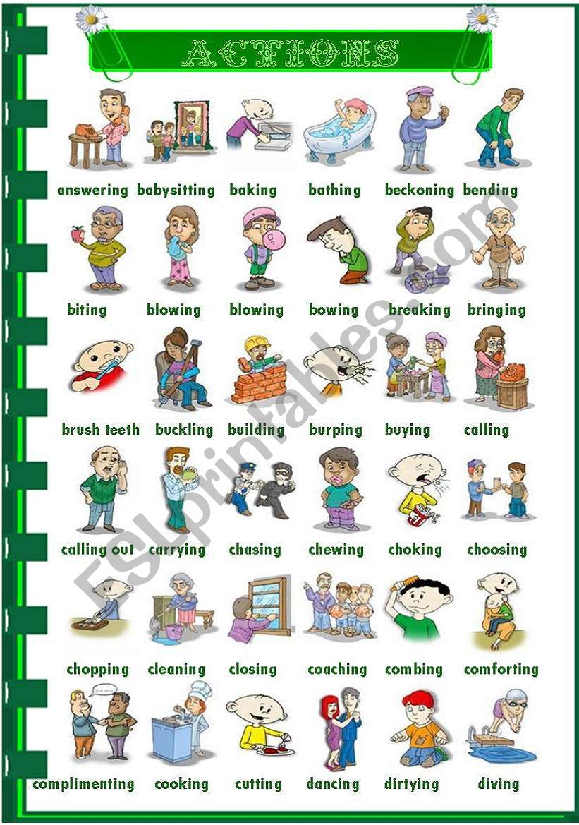 Actions 3/3 worksheet