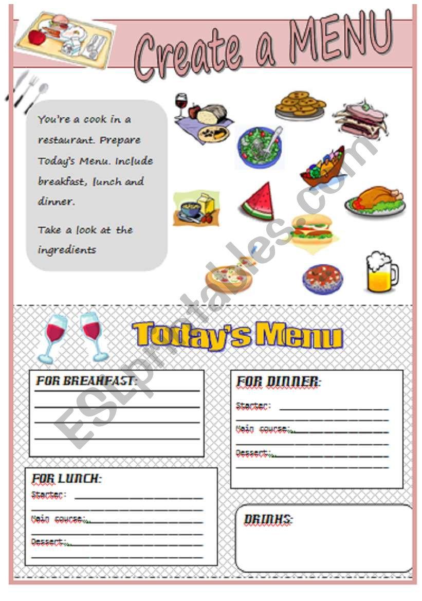 Create a menu worksheet