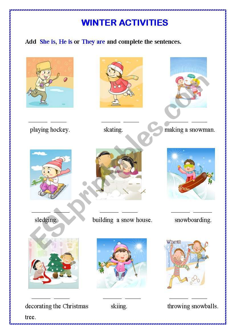 Winter activities worksheet