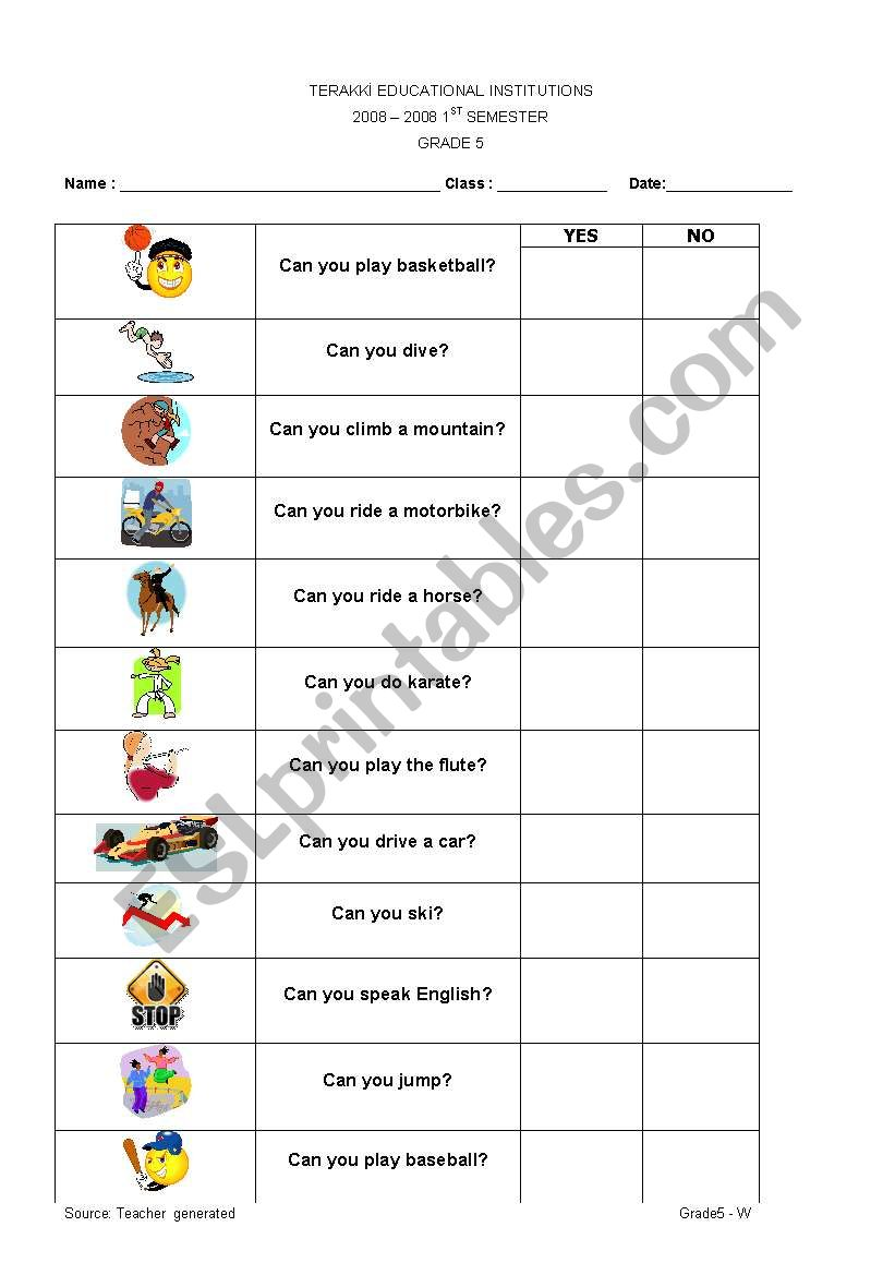 can - can´t survey worksheet