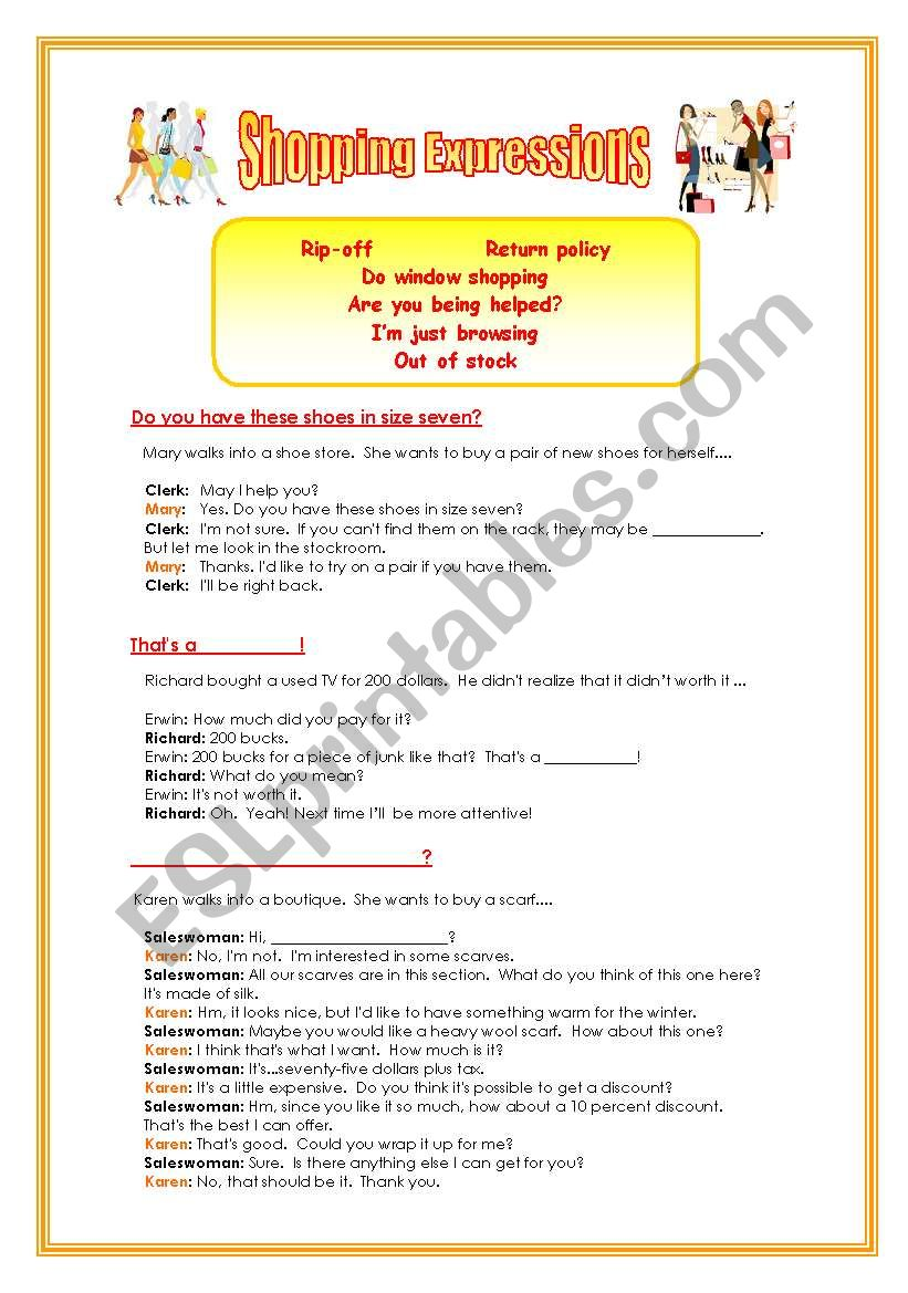 Shopping expressions worksheet