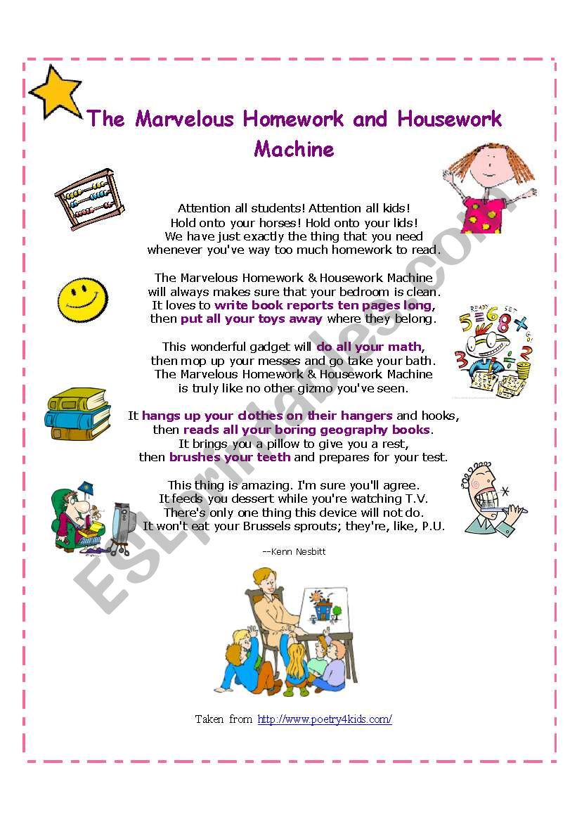 the marvelous homework and housework machine
