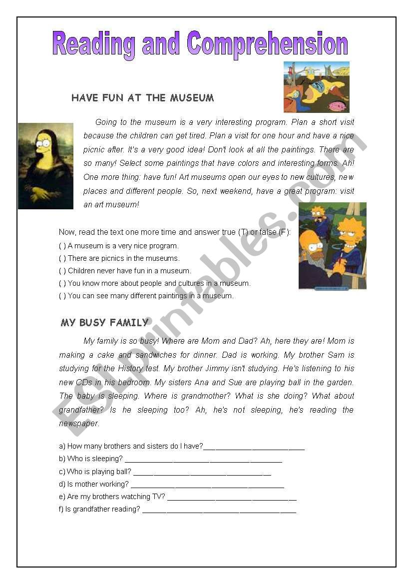 Reading and comprehension worksheet