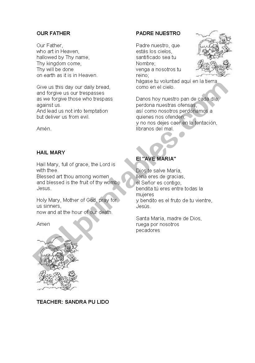 our father worksheet