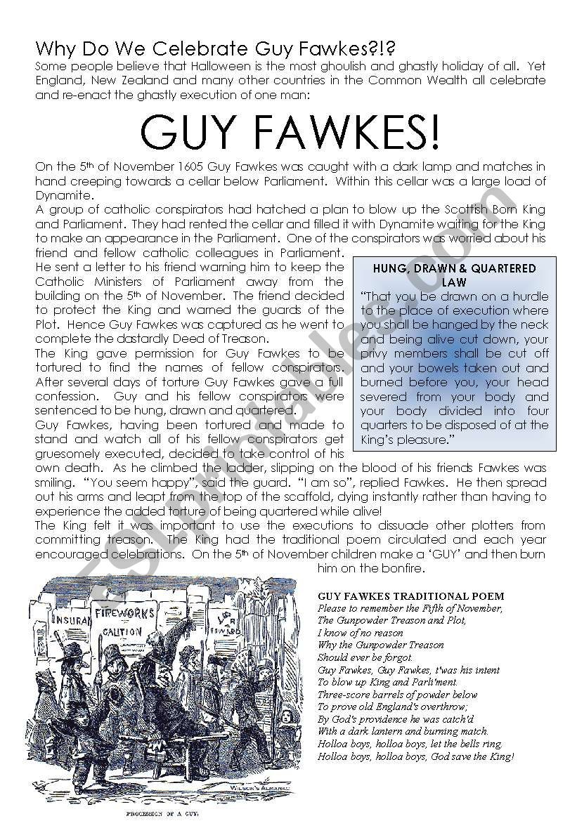 Guy Fawkes - A History worksheet