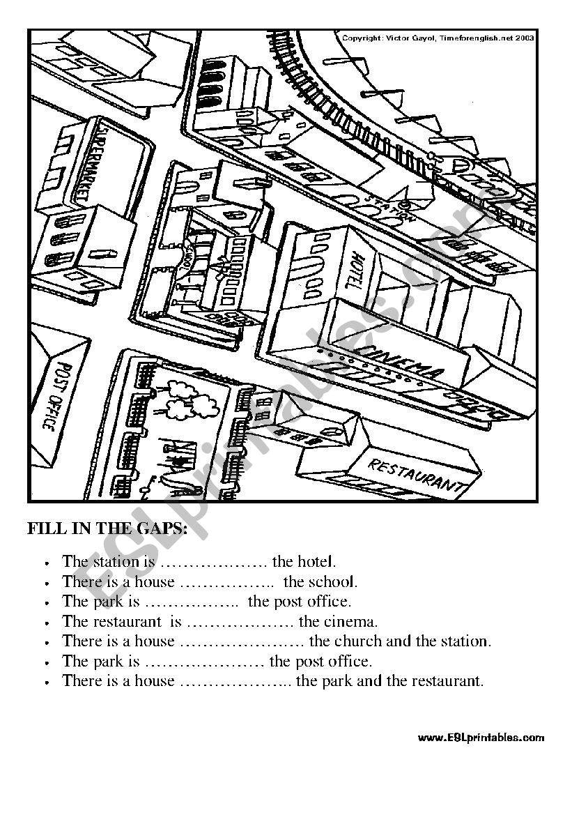 Prepositions in the city: fill in the gaps