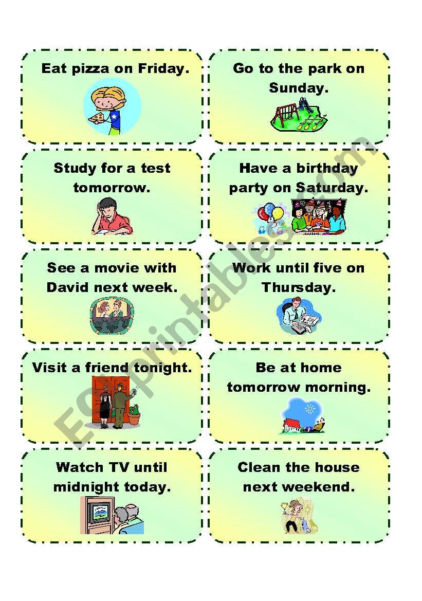 GOING TO  practice cards 1/3 worksheet