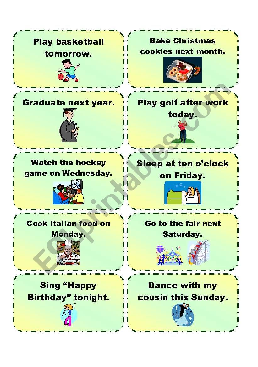 GOING TO practice cards 2/3 worksheet