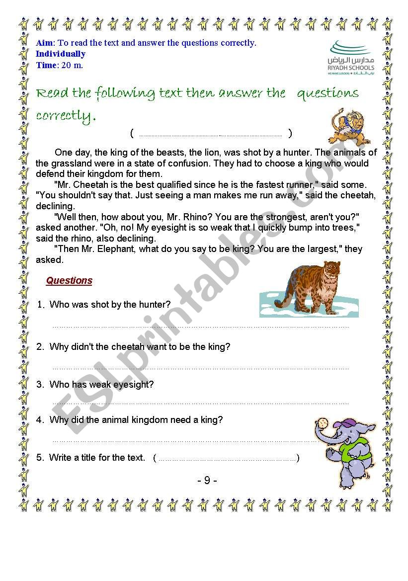 - Read The Text And Answer The Questions Correctly - ESL Worksheet