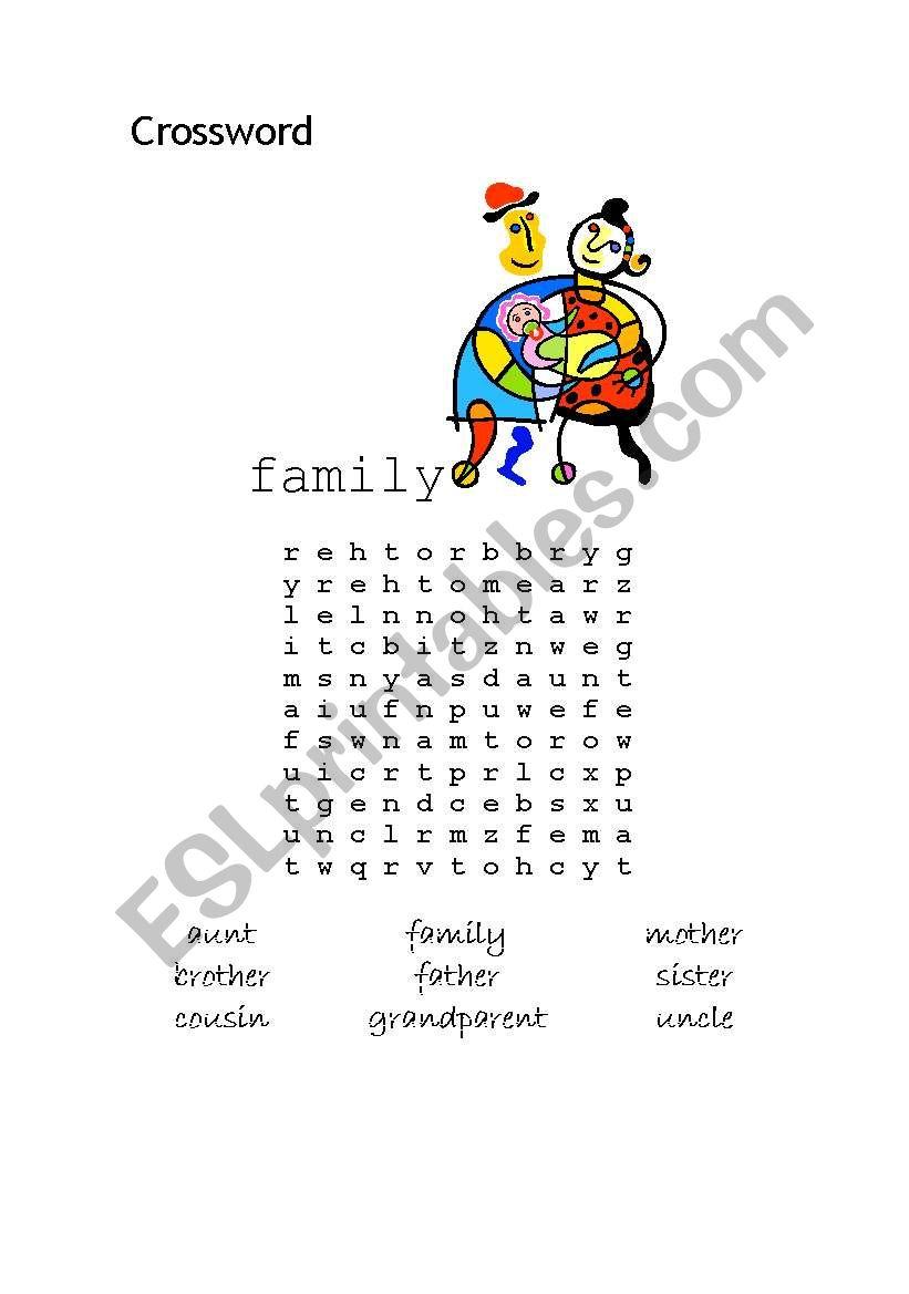 family wordsearch worksheet