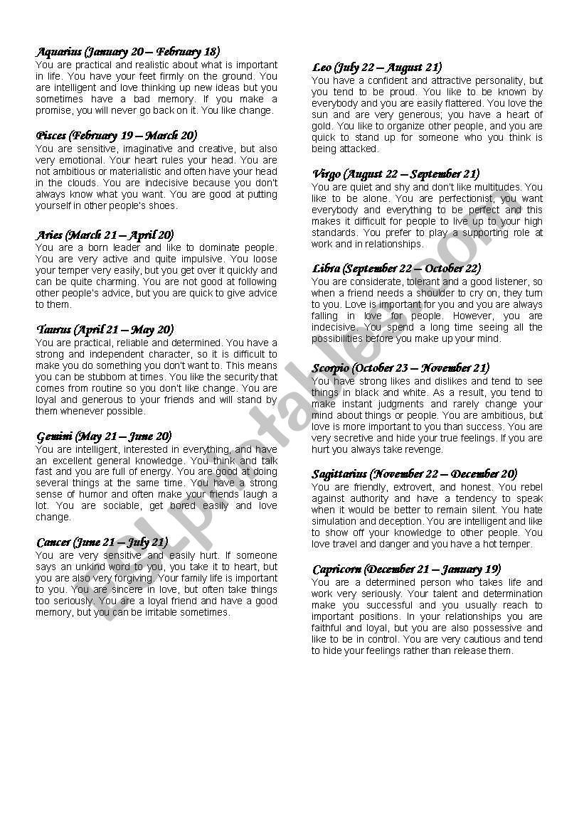 English worksheets: Horoscope signs