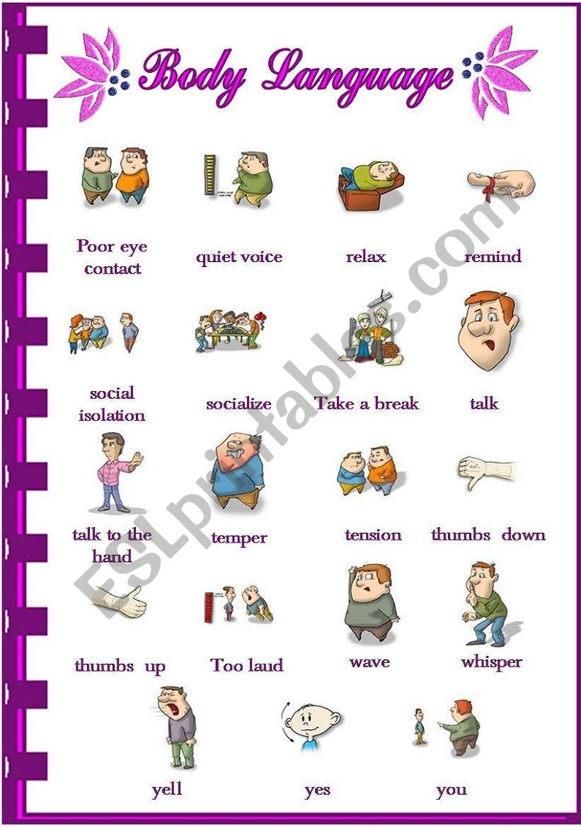 English Worksheets Body Language 12