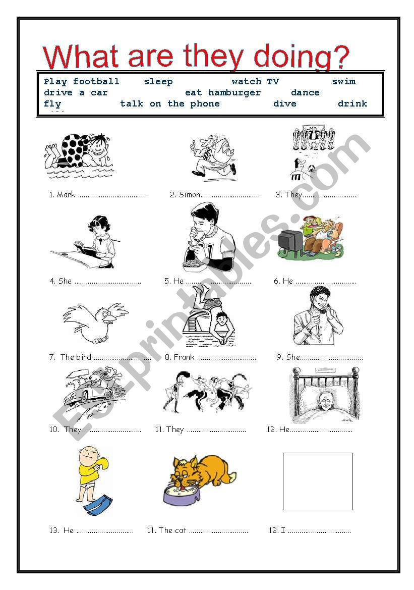 present cont worksheet