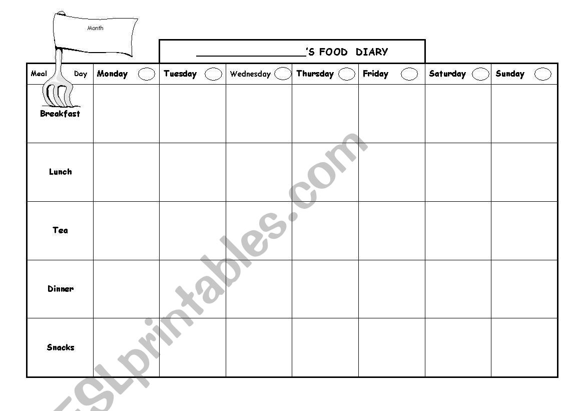 My food diary worksheet