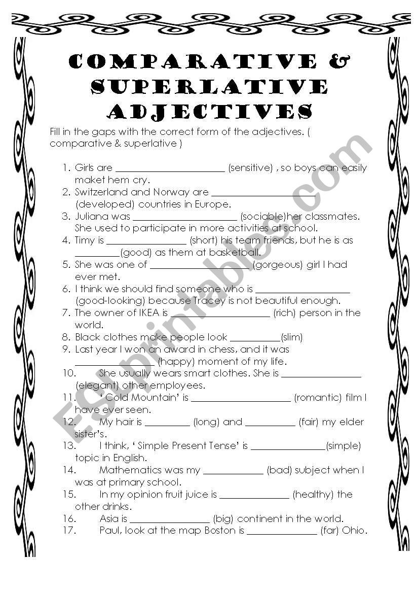 comparative and superlative adjectives - ESL worksheet by bburcu on one syllable word worksheets, describing objects worksheets, comparative superlative adjective, adjective order worksheets, adverbs worksheets, second grade adjective worksheets, comparative vocabulary worksheets, fun psychology worksheets, easy crossword puzzle worksheets, wide and narrow worksheets, clauses and phrases worksheets, positive comparative superlative worksheets, printable adjective worksheets, 3rd grade math reasoning worksheets, beginning band worksheets, comparative worksheets preschool, comparative and superlative worksheets, beginning spanish worksheets, fun adjective worksheets, er and est worksheets,