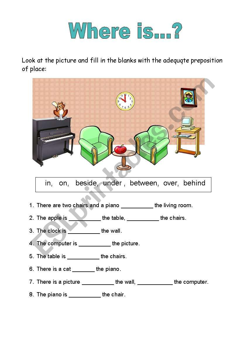 prepositions of place esl worksheet by carlaalves. Black Bedroom Furniture Sets. Home Design Ideas