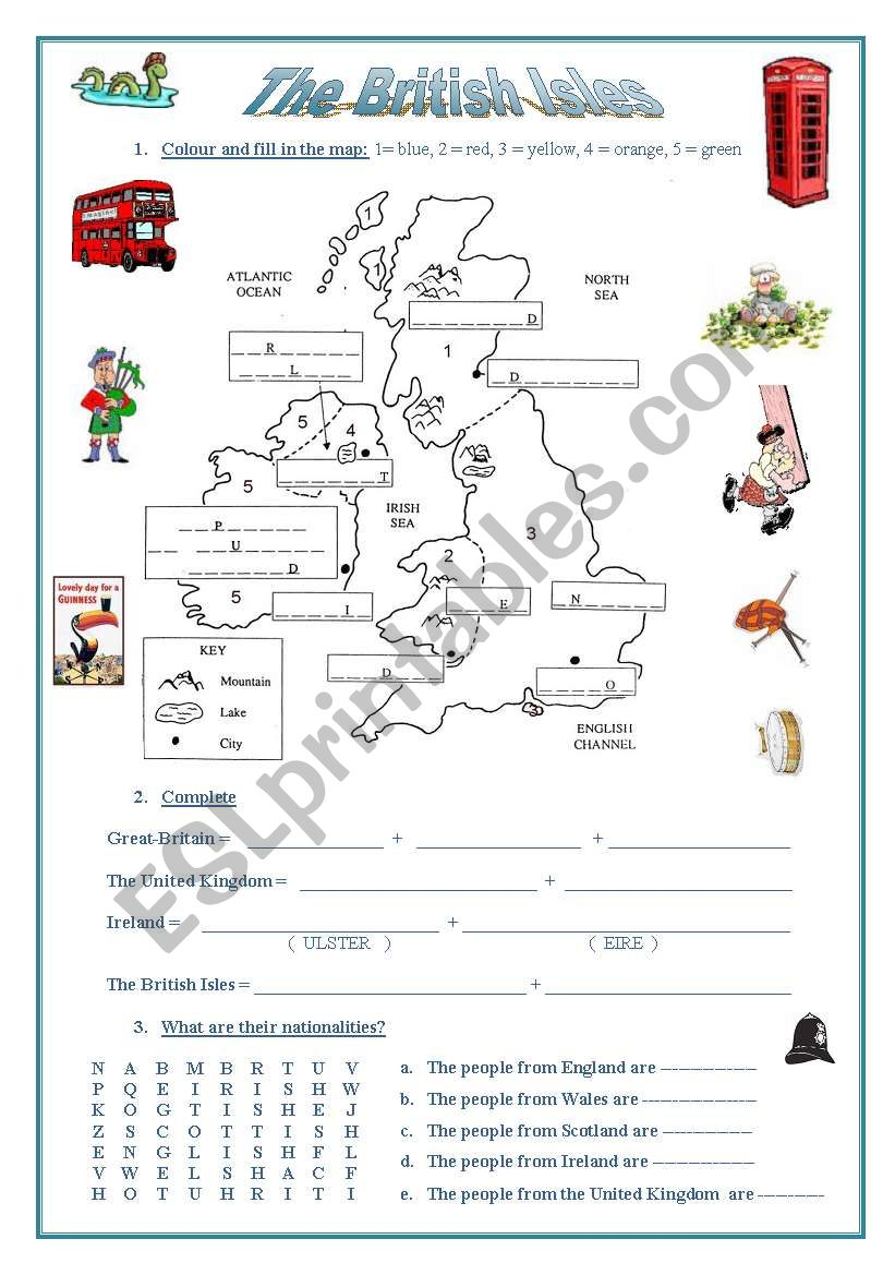 The British Isles (a map, emblems, nationalities, flags)