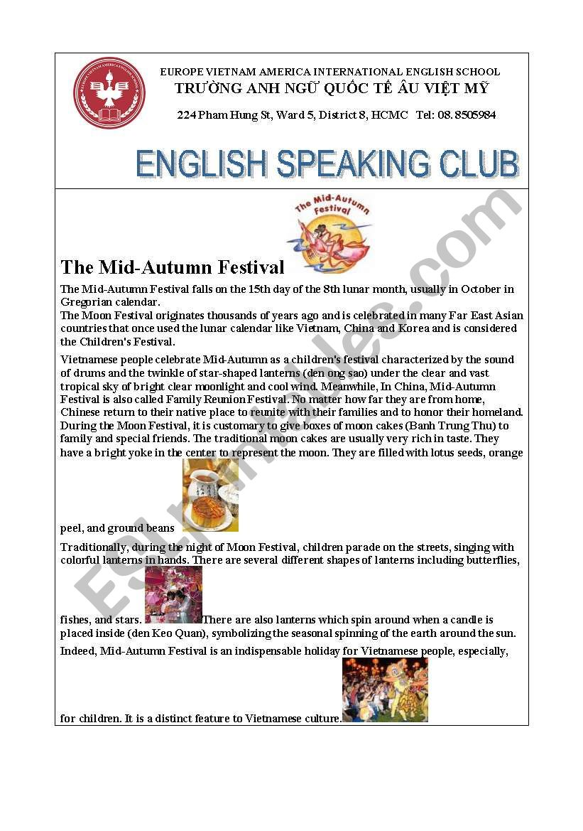 MId Autumn Festival worksheet