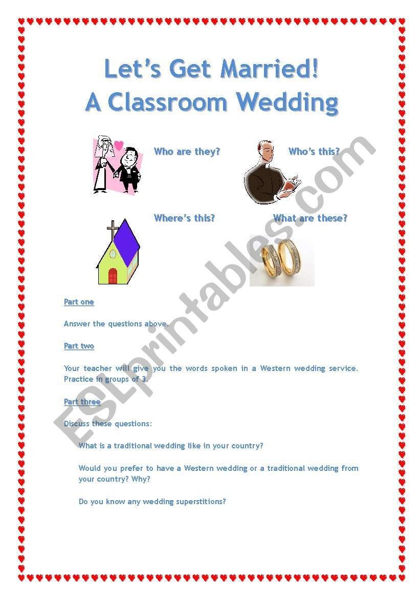 Classroom Wedding worksheet