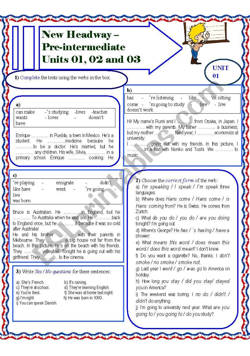 New headway pre intermediate part 01 esl worksheet by marcia new headway pre intermediate part 01 fandeluxe Image collections