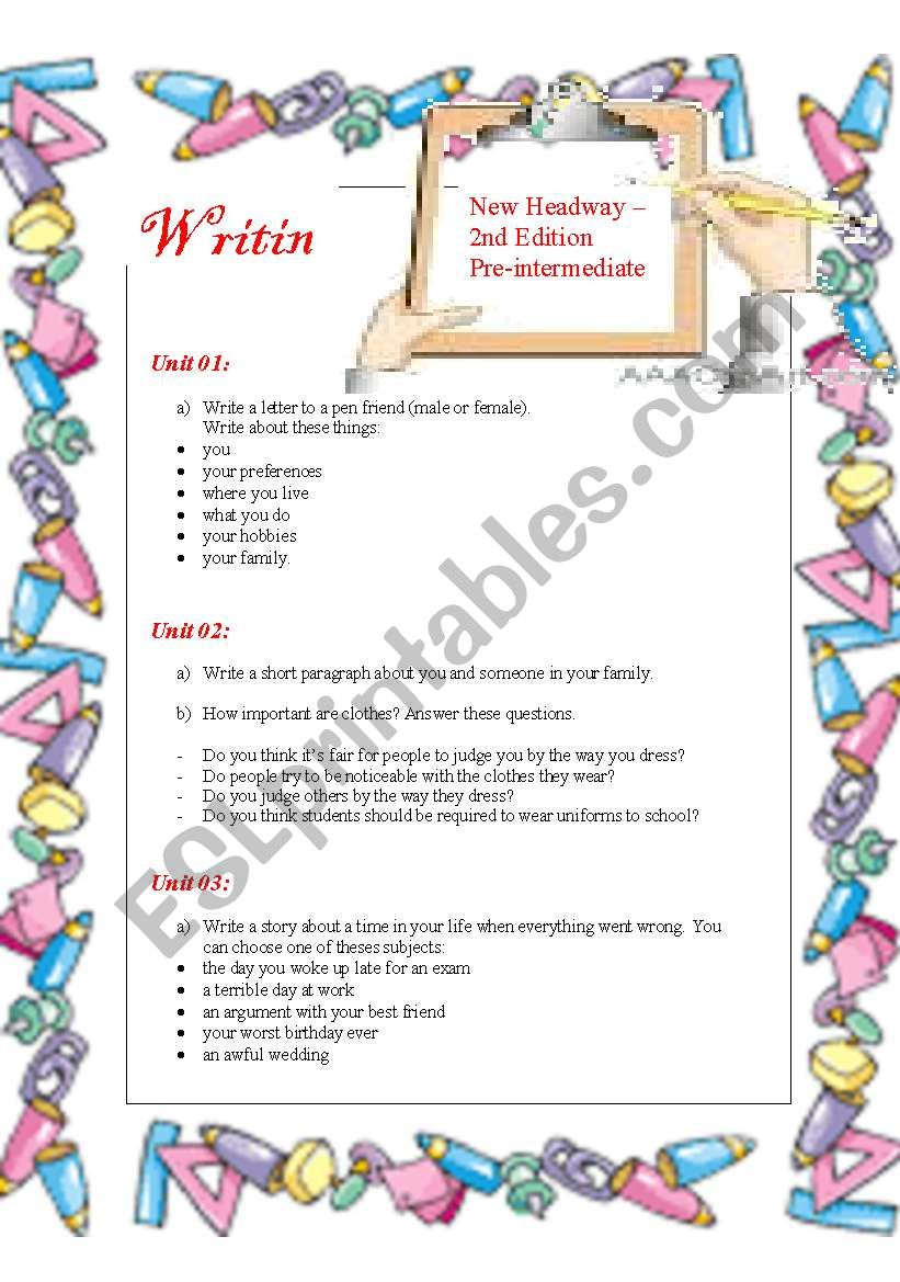 New Headway - pre-intermediate - WRITING