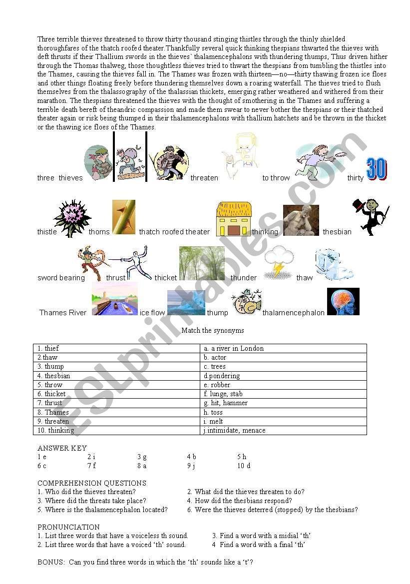 th pronunciation worksheet
