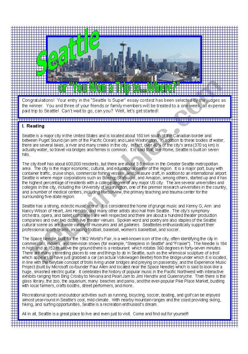 Seattle, USA worksheet