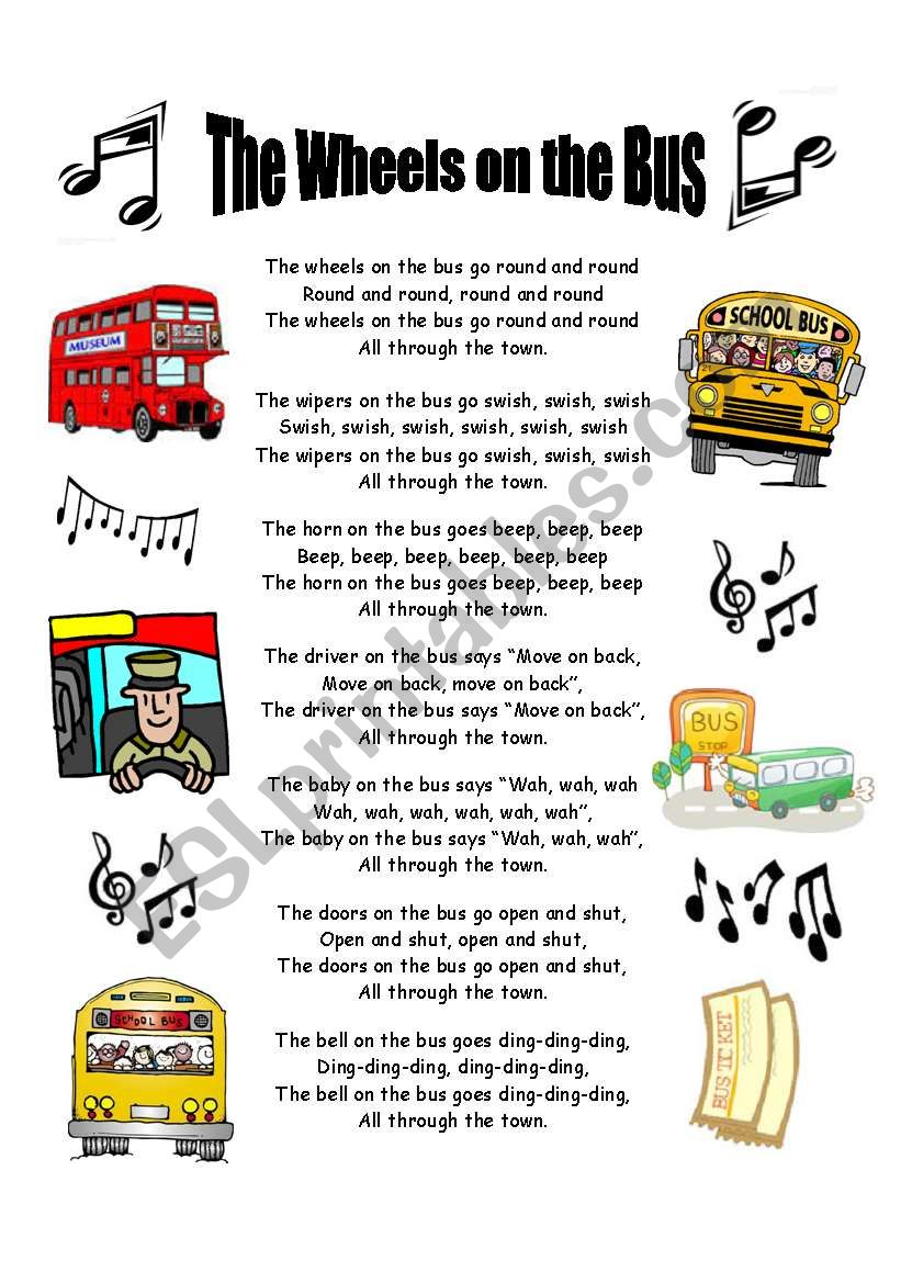 The wheels on the bus - lyric sheet