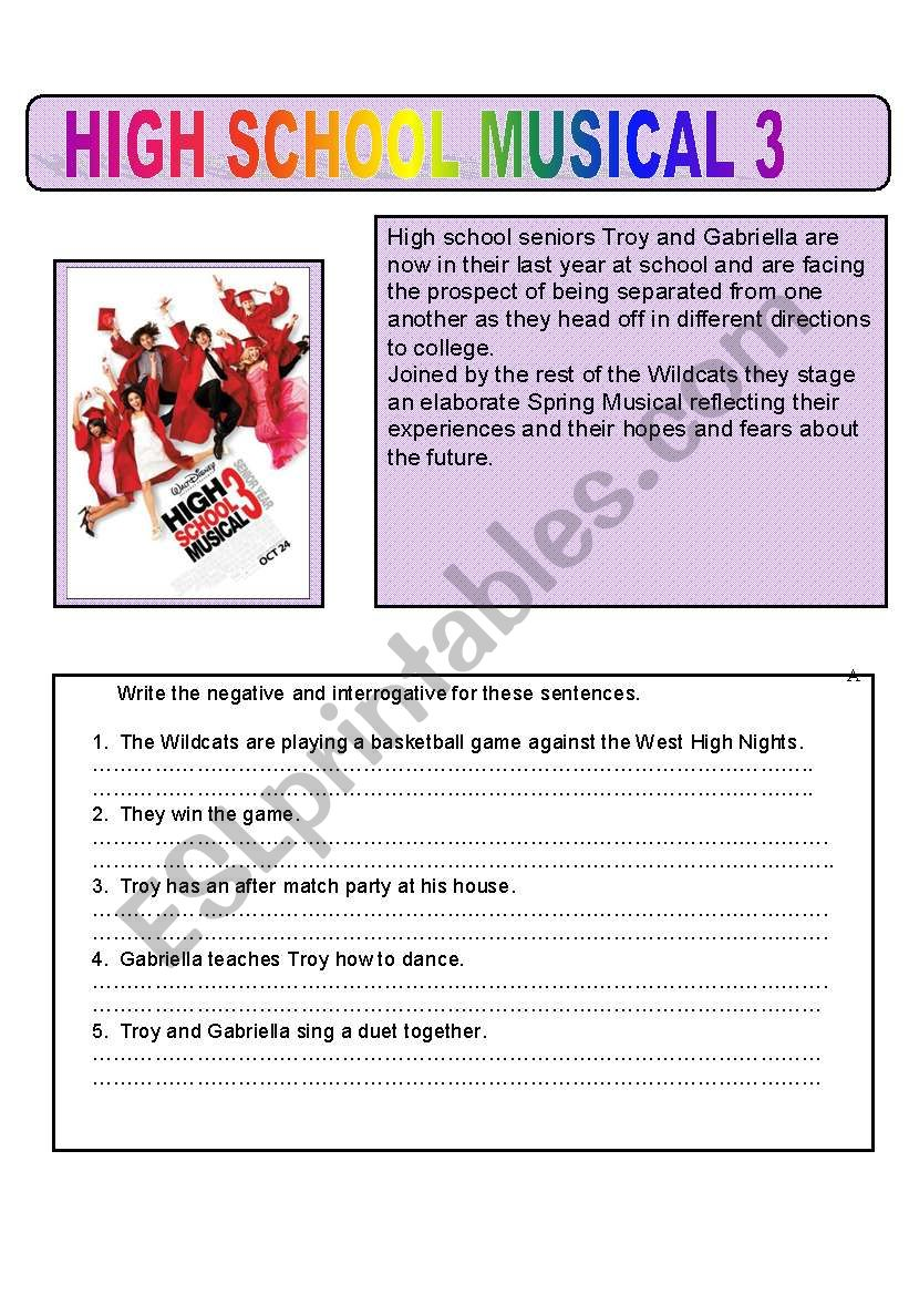 High School Musical Side on reading worksheets