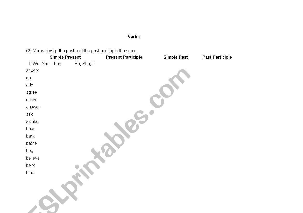 English worksheets: Verb List (Verbs having the past and the