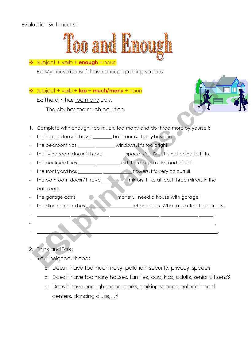 Too/Enough with nouns worksheet