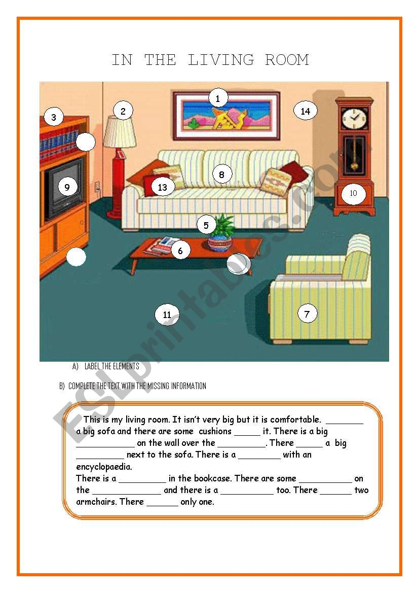 there is there are in the living room prepositions esl worksheet by sandramendoza. Black Bedroom Furniture Sets. Home Design Ideas