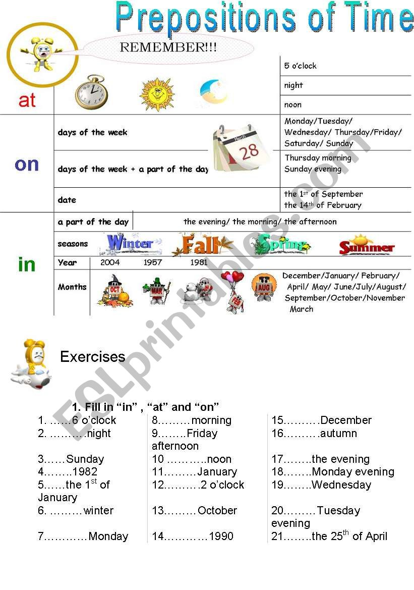 prepositions of time esl worksheet by stunningstar. Black Bedroom Furniture Sets. Home Design Ideas