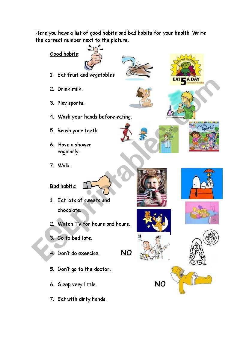 Good-Bad habits worksheet