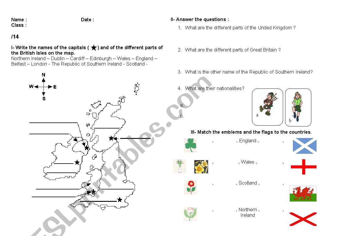 Test on the British Isles (different parts, nationalities, flags, emblems)
